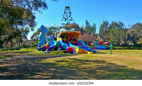 HOLON, ISRAEL. February 2, 2017. Colorful and creative children playground in the Herzl public garden of Holon. It was planned by the landscape architect Yehiel Segel.