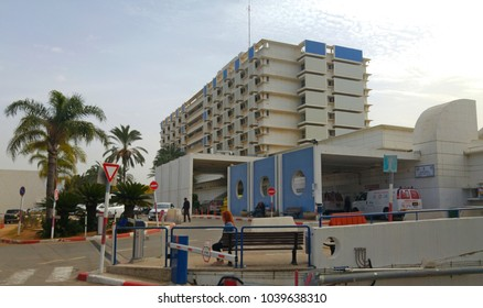 HOLON, ISRAEL. February 8, 2018. Wolfson Medical Center, a ninth largest hospital in Israel, general view stock image. It offers different medical services.