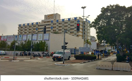 HOLON, ISRAEL. February 8, 2018. Ambulance car leaving the Wolfson Medical Center, a ninth largest hospital in Israel, general view stock image. It offers different medical services.
