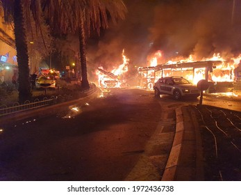 HOLON, ISRAEL. May 11, 2021. The immediate aftermath of the Palestinian rocket hitting a passenger bus in central Israel. Emergency services, Israel Hamas Gaza war concept image.
