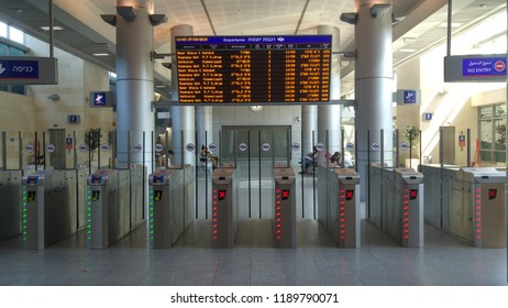 HOLON, ISRAEL. September 27, 2018. Train arrivals board and ticket tourniquet in the halls of the Tzomet Holon train station.