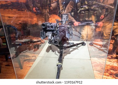 HOLON, ISRAEL - SEPTEMBER 28, 2018: The Mk 19 - vitage american 40 mm belt-fed automatic grenade launcher presented on military show