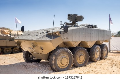 HOLON, ISRAEL - SEPTEMBER 28, 2018: Eitan is an modern armoured fighting vehicle presented on military show