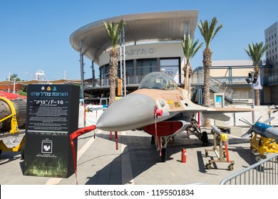 HOLON, ISRAEL - SEPTEMBER 28, 2018: F-16 Fighting Falcon presented on military show