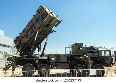 HOLON, ISRAEL - SEPTEMBER 28, 2018: MIM-104 Patriot, a surface-to-air missile (SAM) system presented on military show
