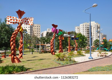 Holon,Israel - 24 Jun,2014 :Colorful wind  vertical turbines in the park
