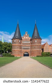 The Holsten Gate (German: Holstentor) in Luebeck, Germany. It is the most significant gate of the Middle Ages in Germany. It was constructed from 1464-1478 as a town gate.