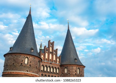 Holsten Gate (Holstentor), a city gate marking off the western boundary of the old center of Luebeck in Schleswig-Holstein, northern Germany.