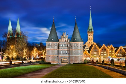 Holstentor in Lubeck, Germany with Christmas decorations