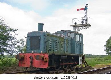 HOLT, NORFOLK, UK - JUNE 23, 2012: Class 03 Shunter No. D2051 stands in the sidings at Holt on the North Norfolk Railway during the 'Titfield Thunderbolt' event.