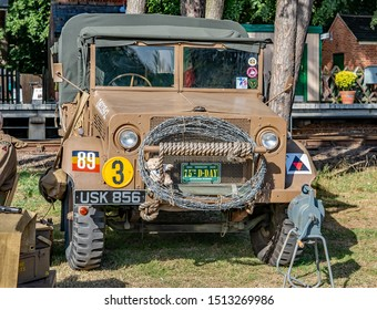 Holt, Norfolk, UK – September 14 2019. 1940's military landrover on display at the annual forties weekend at Holt and Sheringham