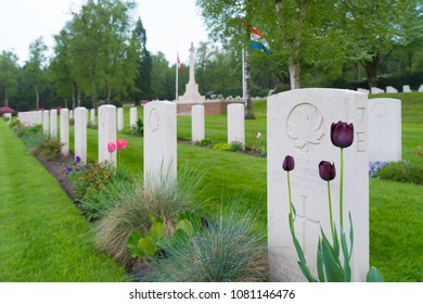 HOLTEN, NETHERLANDS - APRIL 29, 2018: Well maintained graves of fallen canadian soldiers during WW2 on the canadian war cemetary