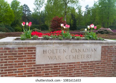 HOLTEN, NETHERLANDS - APRIL 29, 2018: Details of the Holten canadian war cemetary, an officially piece of canadian territory in the netherlands
