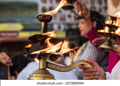 The holy and beautiful evening Ganga Aarti by shore of the holy River Ganges