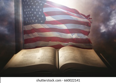 Holy Bible with the american flag in the background.
