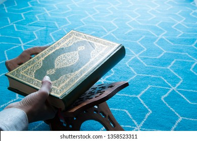 Holy book Koran or quran in the mosque for Muslims holiday, Ramadan,blessed Friday message.