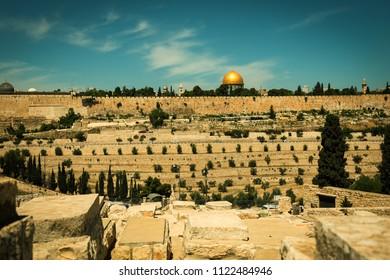Holy city of Jerusalem, Israel, vintage picture
