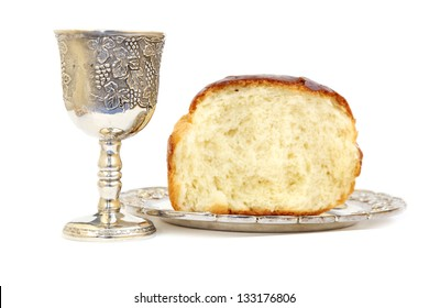Holy Communion. Bread and cup with wine
