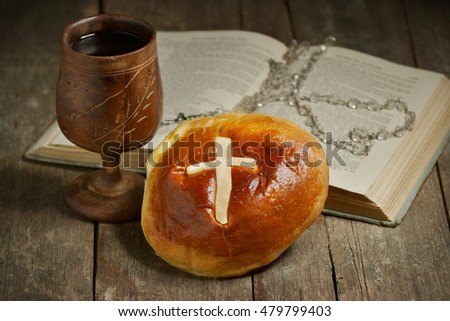 Holy Communion Bread Wine Wooden Chalice Stock Photo Edit Now
