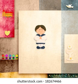 holy communion invitation cute sailor boy and blank space for text