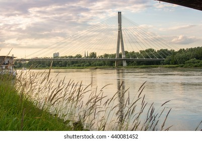 Holy Cross Bridge over Vistula river in Warsaw Poland, Eurpoe