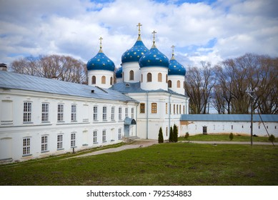 The Holy Cross Cathedral of St. George's Monastery on the April day. Veliky Novgorod, Russia