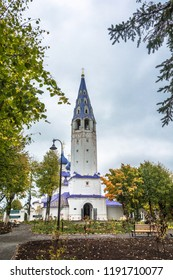 Holy cross Church with bell tower in 1774 in Palekh, Ivanovo region, Russia.
