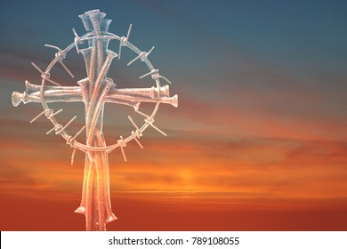 Holy cross, crown of thorns and nails.Easter and Good friday concept.Worship God concept.The Jesus Christ crown of thorns nail and the holy cross.Crucifixion Of Jesus Christ.