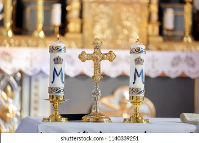 Holy cross with the crucified Christ in the church and empty space for text