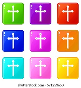 Holy cross icons of 9 color set isolated  illustration