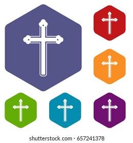Holy cross icons set hexagon isolated  illustration