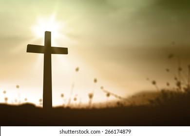 Holy cross on spiritual light background, symbol for Jesus Christ, resurrection and salvation