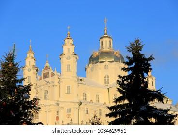 Holy Dormition Pochayiv Lavra in the morning sunshine, Ukraine