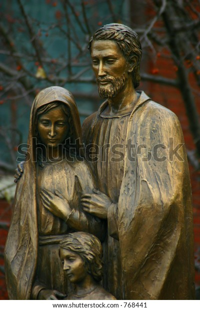 holy family, statue of jesus, mary and joseph bronze, Modern