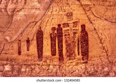 """Holy Ghost and Companions"" Indian Rock Art, Horseshoe Canyon, Utah"