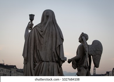 The Holy Grail statue in front of Gran Madre church (Turin, Italy).
