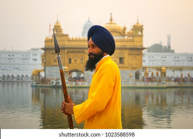 Holy Guard goes around the Golden Temple, Amritsar, Punjab, India
