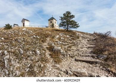 Holy Hill dominant landmark in Mikulov. Chapel of Saint Sebastian, bell tower and Holy Sepulchre