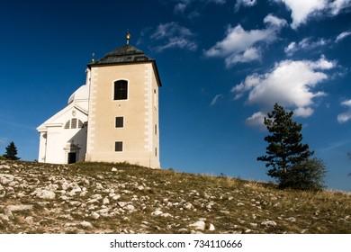 Holy Hill (Svaty Kopecek) with Saint Sebastian chapel, Mikulov, Czech Republic, Europe