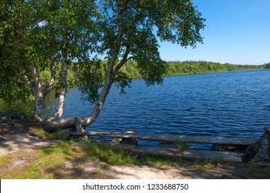 The Holy Lake near the Holy Trinity Anzersky Skete of the Solovki Monastery on the Anzersky Island, the Solovki Islands, Arkhangelsk Region, Russia