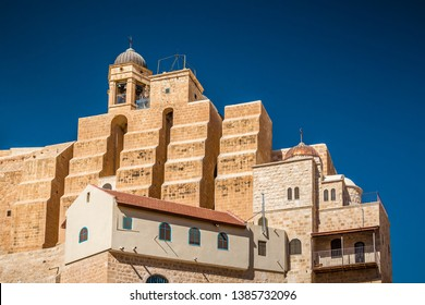 Holy Lavra of Saint Sabbas, Mar Saba. Eastern Orthodox Christian monastery there letter containing Secret Gospel of Mark was found. Located near Jerusalem and the Dead Sea. West Bank, Israel.