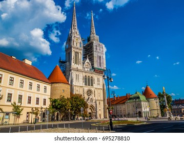 Holy Mary pillar and Zagreb Cathedral in ZAGREB, CROATIA