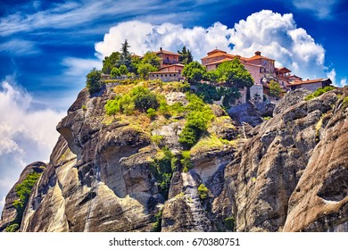 The Holy Monastery of Grand Meteoran in Meteora mountains, Thessaly, Greece. UNESCO World Heritage