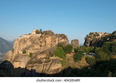 The Holy Monastery of Varlaam and Holy Monastery of Great Meteoron in Meteora - complex of Eastern Orthodox monasteries at sunrise, Greece