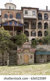 Holy mountain Athos, Greece, april 2017 – different views of monasteries interiors