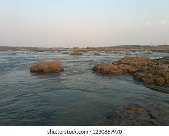 Holy Narmada River at Maheshwar