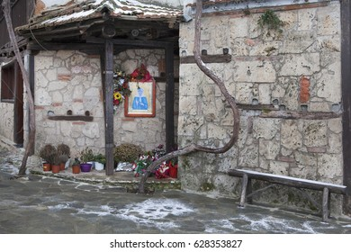 The Holy Patriarchal Stavropigyan Monastery of Saint John the Baptist in the winter with snow, Veroia, Imathia, Greece
