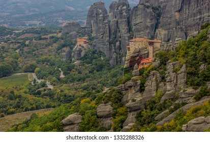 holy pilgrimage highland beautiful lonely far place monastery on steep rocks, panorama mountain forest picturesque environment