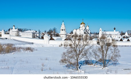 Holy Protection Convent in Suzdal. Pokrovsky women's monastery in winter. Church of Peter and Paul at the Intercession Monastery. Suzdal. Russia. Golden Ring of Russia Travel.