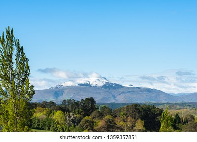 The holy Rhune mountain covered with snow. Basque country of France.